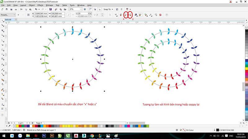 Hướng dẫn sử dụng công cụ Blend trong Corel